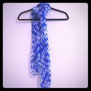 Blue & White Cheveron Scarf